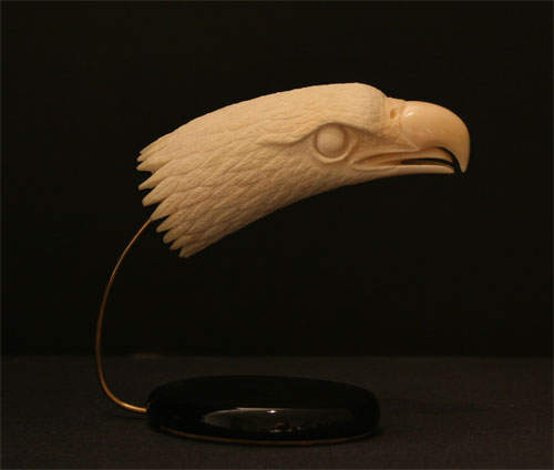 American Indian Ivory Sculpture of a Head of an Eagle