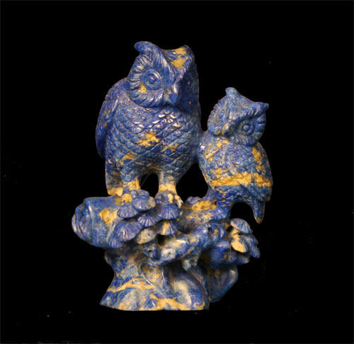 Lapis Lazuli Sculpture of Two Owls