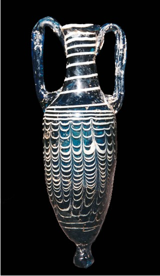 Sand-Core Blue Glass Amphoriskos