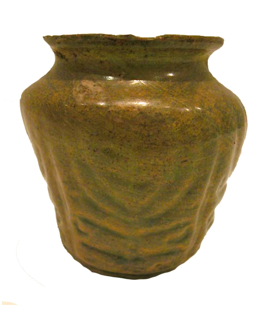 Roman Ovoid Glass Vase with a Menorah or Palmette Motif