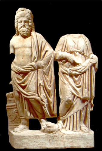 Roman Marble Sculpture of Asklepios and Hygeia