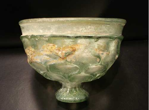 Footed Pale Green Glass Bowl