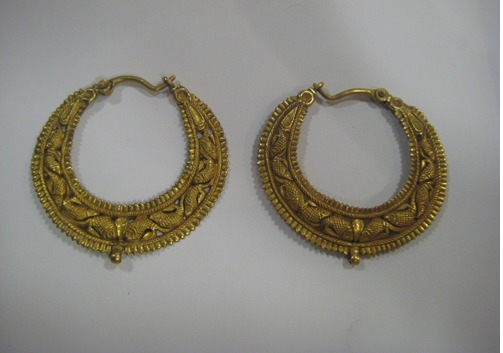 Pair of Gold Earrings with Fish Motifs