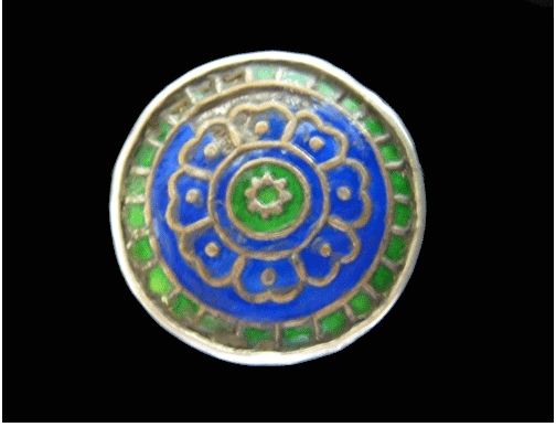 Mughal Silver Ring Inlaid with Enamel