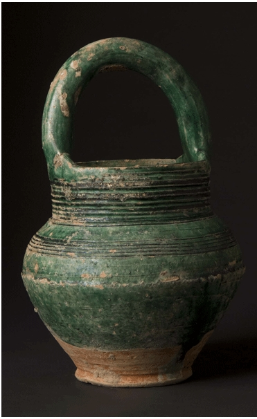 Green-Glazed Jar with Bent Handle