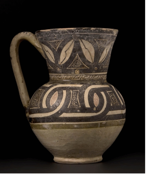 Slip Painted Polychrome Pottery Jug