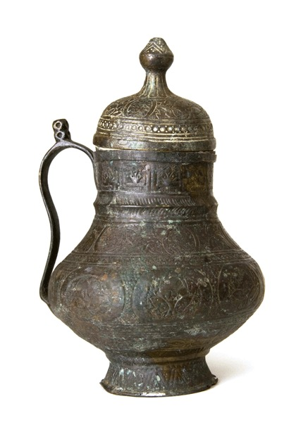 Engraved Bronze Jug with Lid
