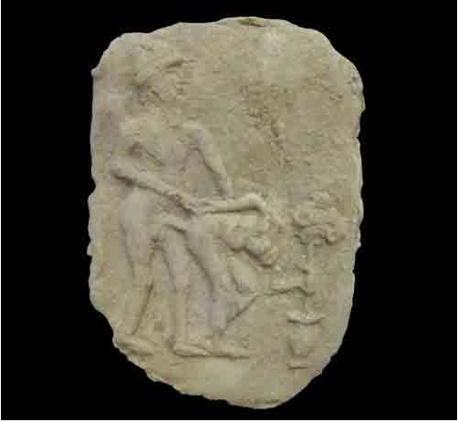 Babylonian Terracotta Tablet with Erotic Scene