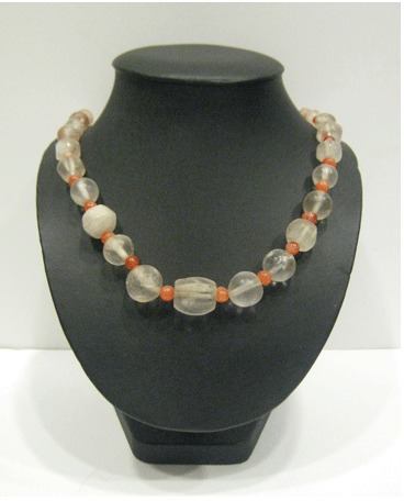 Rock Crystal and Carnelian Bead Necklace