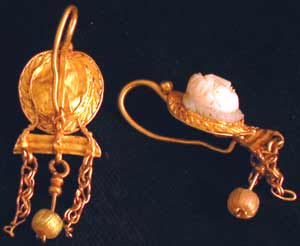 Roman Gold Earrings Set with Gorgon-Head Cameos