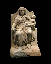 Marble Statuette of a Woman and Child