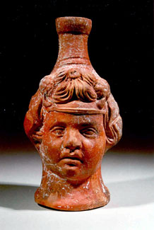 Roman Terracotta Flask in the Form of Bacchus' Head