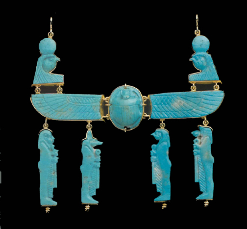 Faince Amulet Pectoral Featuring a Winged Scarab and the Four Sons of Horus