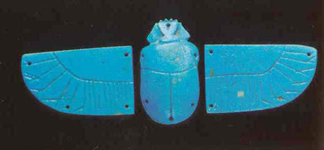 Faience Tripartite Amulet Depicting a Winged Scarab
