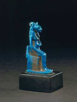 Egyptian Faience Amulet of Sekhmet Enthroned