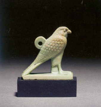 Faience Amulet of Horus as a Falcon