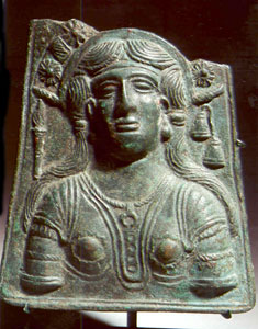 Roman Bronze Votive Plaque Depicting a Goddess