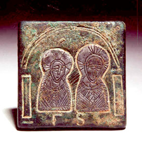 Byzantine Square Bronze Weight with Inlaid Silver Busts of Christ and Mary
