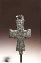 Byzantine Silvered Bronze Reliquary Cross with the Virgin Orans