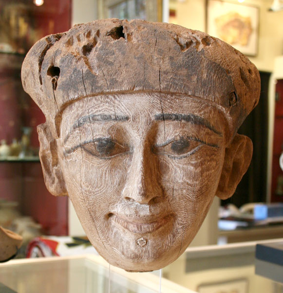 Late Dynastic Period Wooden Mummy Case Head
