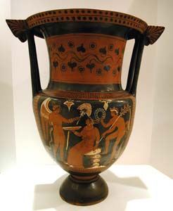 Apulian Red-Figure Terracotta Column Krater