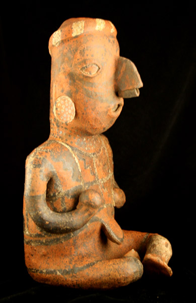 Ixtlán del Rio Style Nayarit Sculpture of a Seated Man Holding a Ball