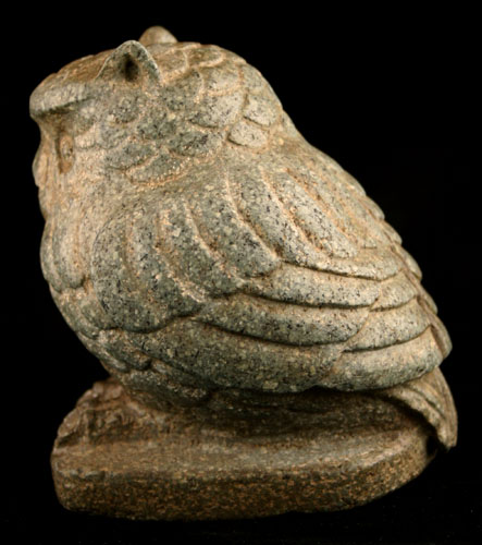 Aztec Green Stone Sculpture of an Owl
