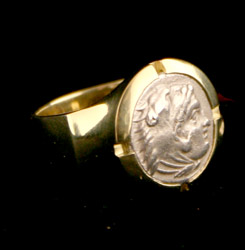18 Karat Gold Ring Featuring a Silver Drachm of Alexander the Great