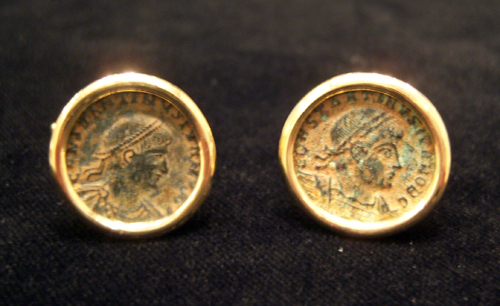 Roman Bronze Coins of Emperor Constantine the Great Mounted in 18 Karat Gold Cufflinks