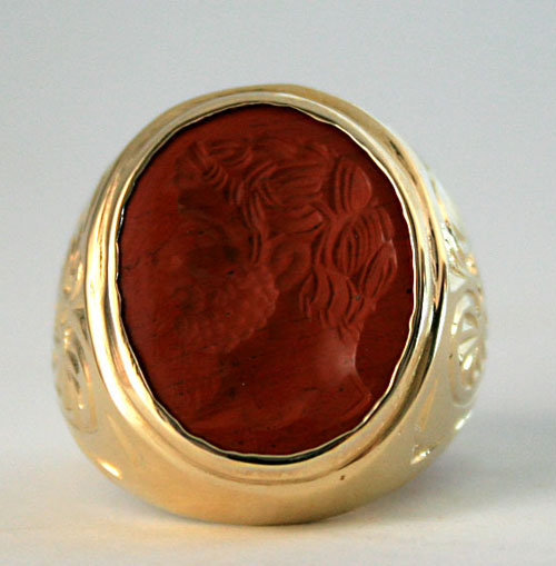 Gold Ring Featuring a Roman Red Jasper Intaglio Ring Depicting a Bust of an Emperor
