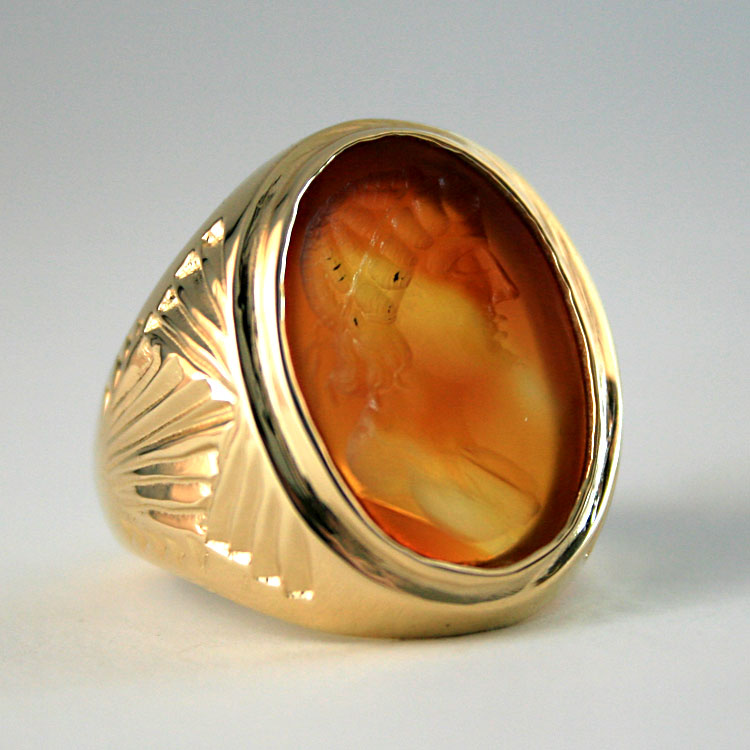 Gold Ring Featuring a Roman Carnelian Intaglio Depicting the Bust of the Goddess Artemis