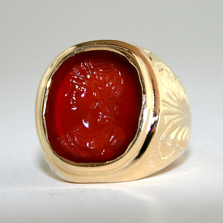 Carnelian Intaglio Ring Depicting a Bust of a Roman Emperor