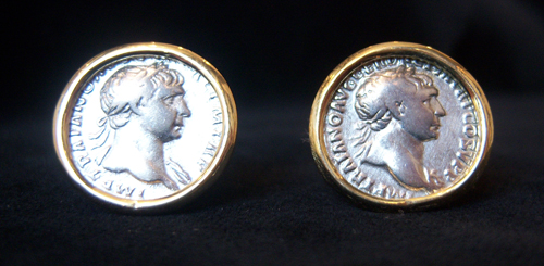 2 Siver Coins Of Emperor Trajan Mounted in an 18 karat gold earrings