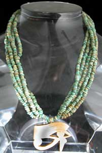 Necklace Of Egyptian Faience Beads And Gold Eye Of Horus