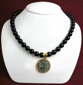 Onyx Beaded Necklace Featuring a Roman Bronze Coin of Emperor Maxentius