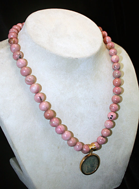 Rhodonite Beaded Necklace Featuring a Roman Bronze Coin of Emperor Maxentius