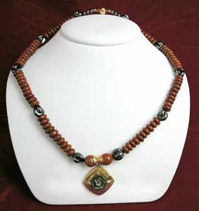 Red Jasper and Hametite Bead Necklace Featuring a Bronze Coin of Hasmonean King John Hyrcanus I