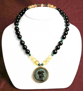 Beaded Necklace Featuring a Roman Bronze Sestertius of Emperor Maximinus