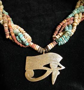 Six Strand Egyptian Faience  Bead Necklace w/ Sacred Eye Of Horus