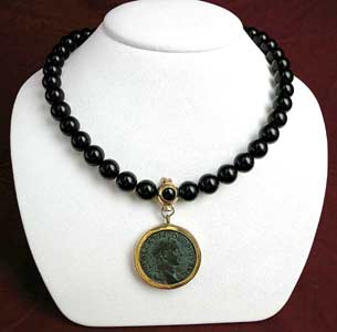 Onyx Beaded Necklace Featuring a Roman Bronze Sestertius of Emperor Severus Alexander