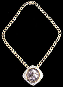 Gold Necklace Featuring a Silver Tetradrachm of King Lysimachus