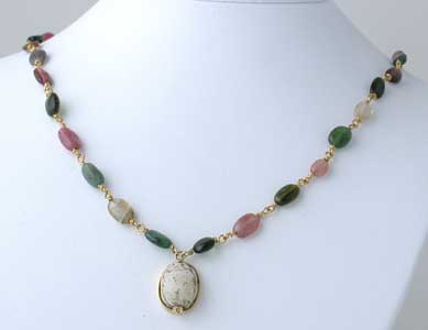 Mixed Tourmaline Beaded Necklace Featuring a New Kingdom Steatite Scarab