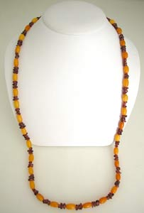 Amber And Garnet Bead Necklace