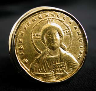 Gold Ring with Byzantine Gold Coin Depicting Christ Pantokrator
