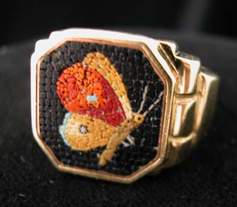 Gold Ring Classical Revival Micromosaic Depicting a Butterfly