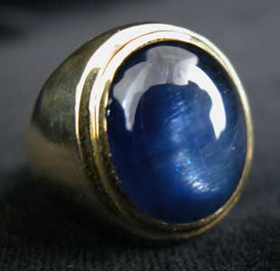 Gold Ring with Cabachon Blue Sapphire