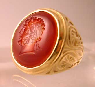Gold Ring with a Roman Carnelian Cameo Seal Depicting Caracalla