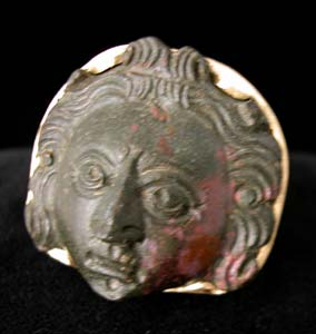 Gold Ring with Roman Bronze Mask