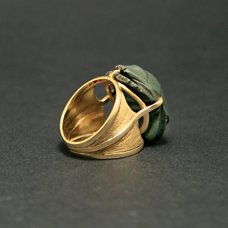Gold Ring Featuring a Green Jasper Scarab