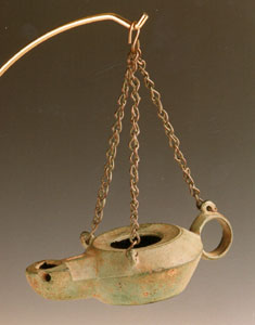 Roman Bronze Oil Lamp with Hanging Chains